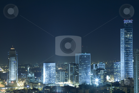Ramat Gan Skyline at Night stock photo, View on Ramat Gan at night by Dmitry Pistrov