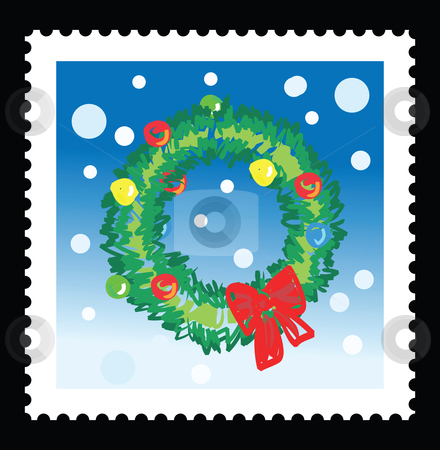 Christmas stamp stock vector clipart, Christmas stamp with illustrations of christmas wreath by Mtkang 