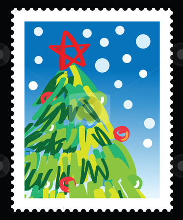 Christmas stamp stock vector clipart, Christmas stamp with illustrations of christmas tree by Mtkang 