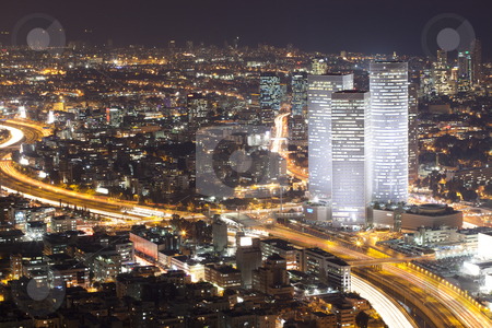 Tel aviv skyline - Night city stock photo, Tel aviv At night - Night City by Dmitry Pistrov