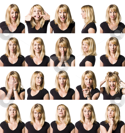 Twenty portrait of a woman with differnet expressions stock photo, Twenty portrait of a woman with differnet expressions by Anne-Louise Quarfoth
