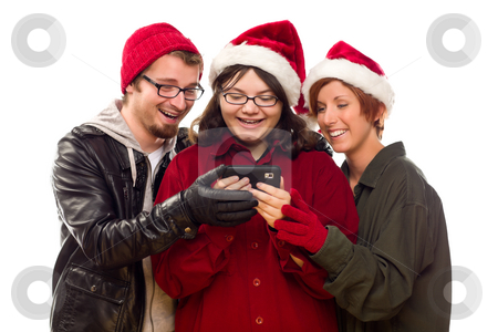 Three Friends Enjoying A Cell Phone Together stock photo, Three Friends Enjoying A Cell Phone Together Isolated on a White Background. by Andy Dean