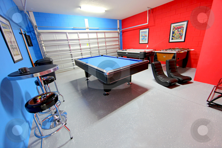 Games Room stock photo, A Games Room with Pool, Air Hockey and Foosball by Lucy Clark