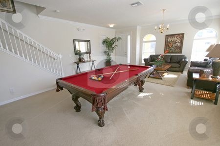 Pool Table stock photo, A Pool Table in a Living Area in a Home by Lucy Clark
