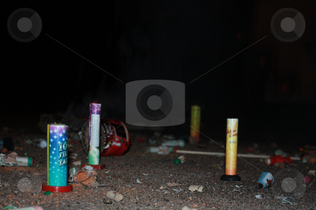 Burned rockets stock photo, Burning firecracker on New Year's Eve by Viktor Thaut