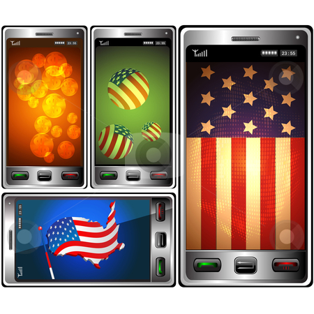 Phones and symbolics USA  stock vector clipart, Symbolics USA located on the display modern mobil phones by Alina Starchenko