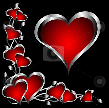 A red and silver hearts Valentines Day Background stock vector clipart, A red hearts Valentines Day Background with silver hearts and flowers on a black background by Mike Price