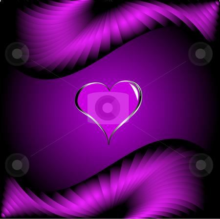 A purple hearts Valentines Day Background stock vector clipart, A purple hearts Valentines Day Background with silver hearts on a darker satin effect graduated background by Mike Price