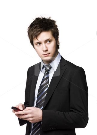 Business-man with a cell phone stock photo, Business-man with a cell phone by Anne-Louise Quarfoth