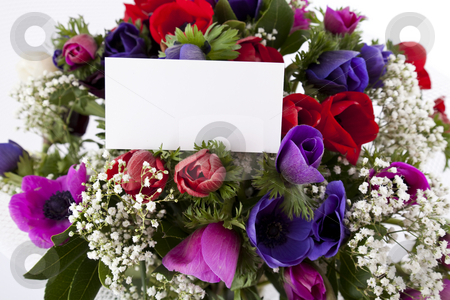 Beautiful bouquet of flowers stock photo, Beautiful bouquet of flowers with blank white card to put your message. by Diamantis Seitanidis