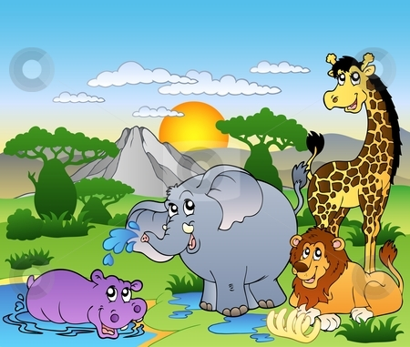 African landscape with four animals stock vector clipart, African landscape with four animals - vector illustration. by Klara Viskova