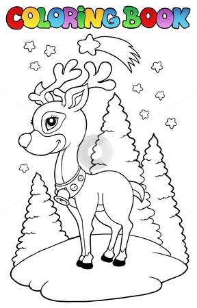 Coloring book Christmas reindeer 2 stock vector clipart, Coloring book Christmas reindeer 2 - vector illustration. by Klara Viskova