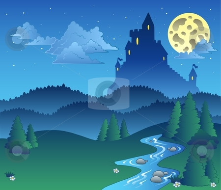 Fairy tale landscape at night 1 stock vector clipart, Fairy tale landscape at night 1 - vector illustration. by Klara Viskova