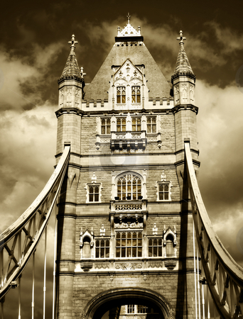 Tower Bridge stock photo, A shot of Tower Bridge, London, against a very blue sky. by Mary Lane