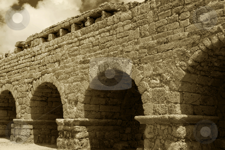 Aqueduct stock photo, An ancient Roman aqueduct near Ceseara, Israel. by Mary Lane
