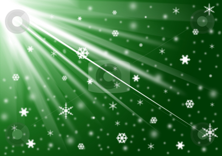 Christmas background stock photo, Green background with snow and snowflakes by Cristinel Zbughin