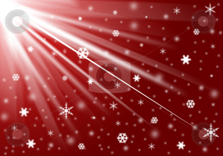 Christmas background stock photo, Red background with snow and snowflakes by Cristinel Zbughin