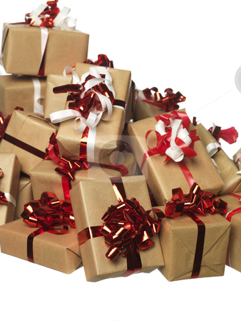 Christmas presents in a bunch stock photo, Christmas presents in a bunch by Anne-Louise Quarfoth