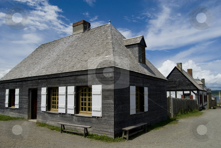 Fort Louisburg stock photo, Houses and shops in the historic French fort of Louisburg, Nova Scotia, Canada. by Mary Lane
