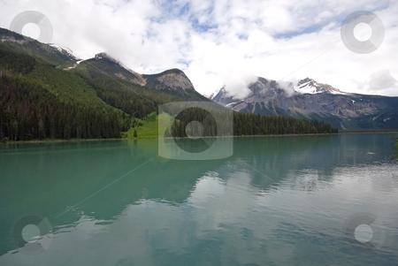 Emerald Lake stock photo, The Rockies rising above Emerald Lake near Field, British Columbia, Canada. by Mary Lane