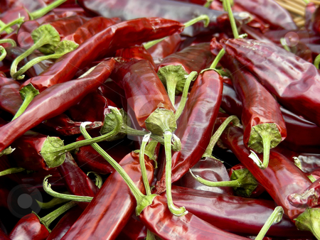 Hot Stuff stock photo, The crown jewel of Korean cuisine - hot red peppers. by Mary Lane