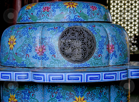 Korean Vase stock photo, A bright blue, brightly decorated vase on the grounds of a palace in Seoul, Korea. by Mary Lane