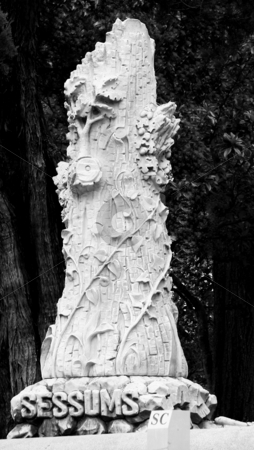 Pagan Totem stock photo, Pagan Totem in cemetery after thunderstorm by Marburg