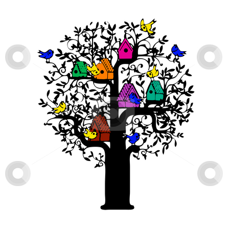 Tree with bird houses  stock photo, Illustration of tree filled with birds and birdhouses by CHERYL LAFOND