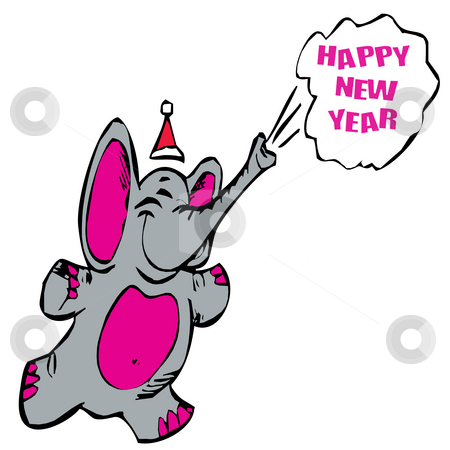 Happy new year elephant stock photo, Happy new year elephant great foe cards etc by CHERYL LAFOND