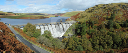Craig Goch reservoir panorama, Elan Valley, Wales. stock photo, Craig Goch reservoir panorama, Elan Valley, Wales. by Stephen Rees