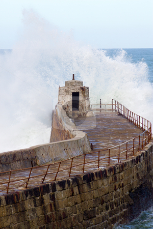 Big wave splash, Portreath Pier Cornwall UK. stock photo, Big wave splash, Portreath Pier Cornwall UK. by Stephen Rees