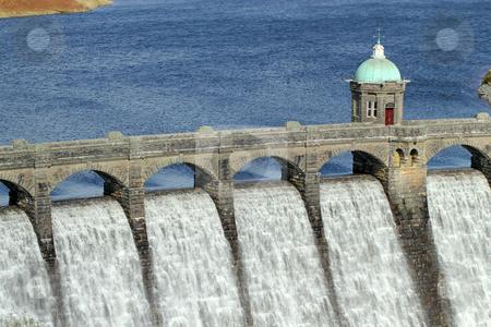 Craig Goch reservoir dam close up, Elan Valley, Wales. stock photo, Craig Goch reservoir dam close up, Elan Valley, Wales. by Stephen Rees