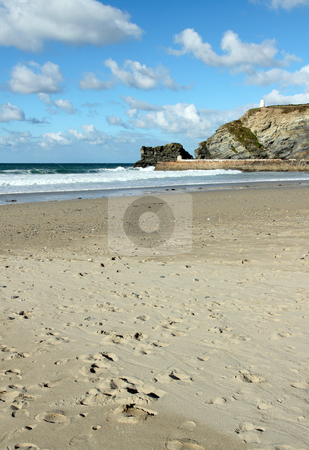 Portreath sandy beach and white clouds, Cornwall UK. stock photo, Portreath sandy beach and white clouds, Cornwall UK. by Stephen Rees