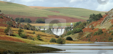 Elan Valley Craig Goch dam water overflowing, Wales UK. stock photo, Elan Valley Craig Goch dam water overflowing, Wales UK. by Stephen Rees