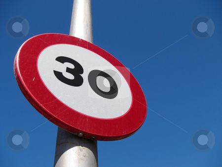 Spanish 30 kph road sign. stock photo, Spanish 30 kph road sign. by Stephen Rees
