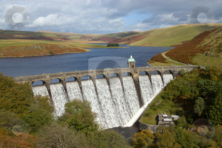 Craig Goch reservoir with water overflowing, Elan Valley, Wales. stock photo, Craig Goch reservoir with water overflowing, Elan Valley, Wales. by Stephen Rees