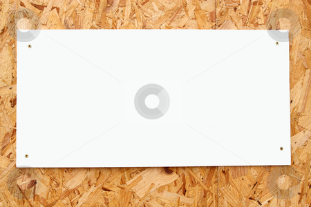 White blank sign on recycled wood board.  stock photo, White blank sign on recycled wood board. by Stephen Rees