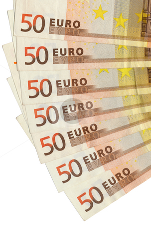 Fifty euro notes fanned out close up. stock photo, Fifty euro notes fanned out close up. by Stephen Rees