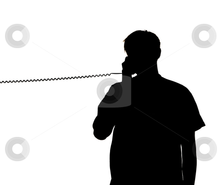 Silhouette of a man talking in the phone stock photo, Silhouette of a man talking in the phone by Anne-Louise Quarfoth