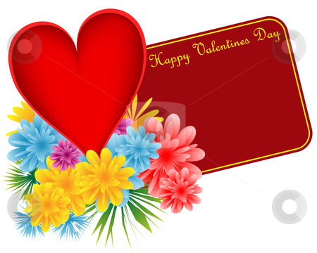 Valentine red heart and flowers stock vector clipart, Valentine red heart, bouquet of flowers and a happy valentines day gift tag. Isolated on white. Copy space for text. by toots77