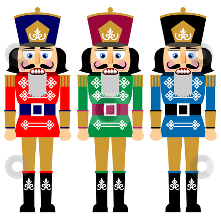 Set of christmas nutcracker stock vector clipart, Set of nutcracker, design in three variations, no gradients, isolated on white background, full scalable vector graphic. by Ela Kwasniewski