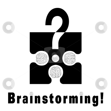 Brainstorming metaphor stock photo, Conceptual brainstorming symbol composed by a puzzle piece and three human brains. They struggle to find the solution of their problems. The dots on I litters are two brains by Dario Rota