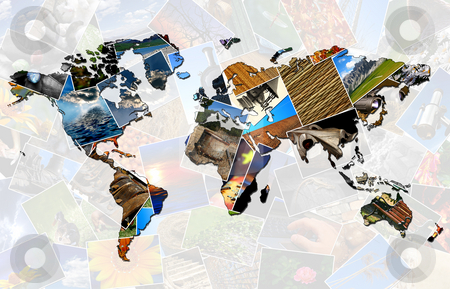 Collage world map stock photo, World map made of several photos by Dario Rota