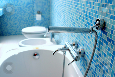 Blue bathroom stock photo, Blue bathroom closeup by Dario Rota