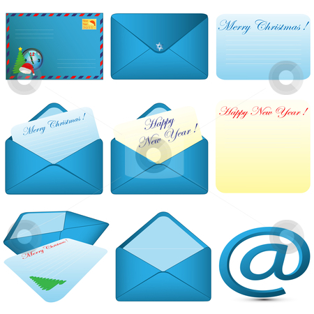 Envelope and letter stock vector clipart, Collection of pictures consisting of envelopes and letters of various forms on a pure background by Alina Starchenko