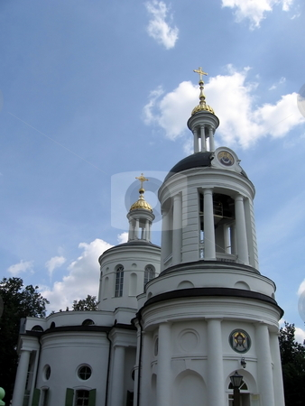 White Russian orthodox church stock photo, White beautiful church in Moscow near the center of the city by Vladislav Chekanin