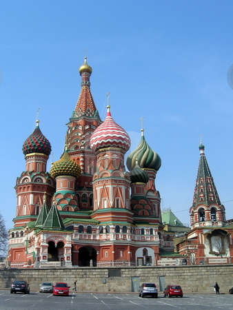 Vasily temple in Moscow stock photo, Very beautiful temple in capital of Russia on a background of blue sky by Vladislav Chekanin