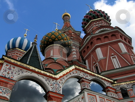 Moscow temple stock photo, Very beautiful temple in capital of Russia on a background of blue sky by Vladislav Chekanin