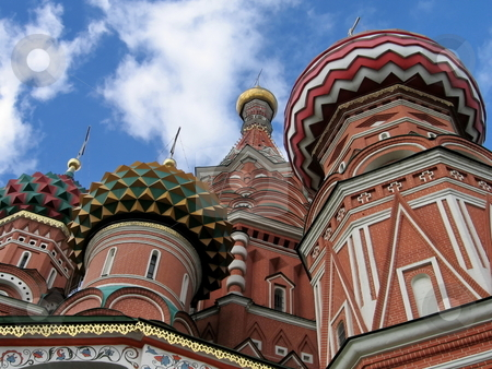 Moscow temple by Vasil stock photo, Very beautiful temple in capital of Russia on a background of blue sky by Vladislav Chekanin