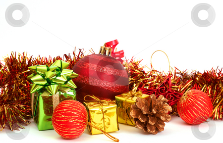 Red Christmas baubles and other decorations stock photo, Red Christmas baubles and other decorations on white background with copy space. by Elena Weber (nee Talberg)
